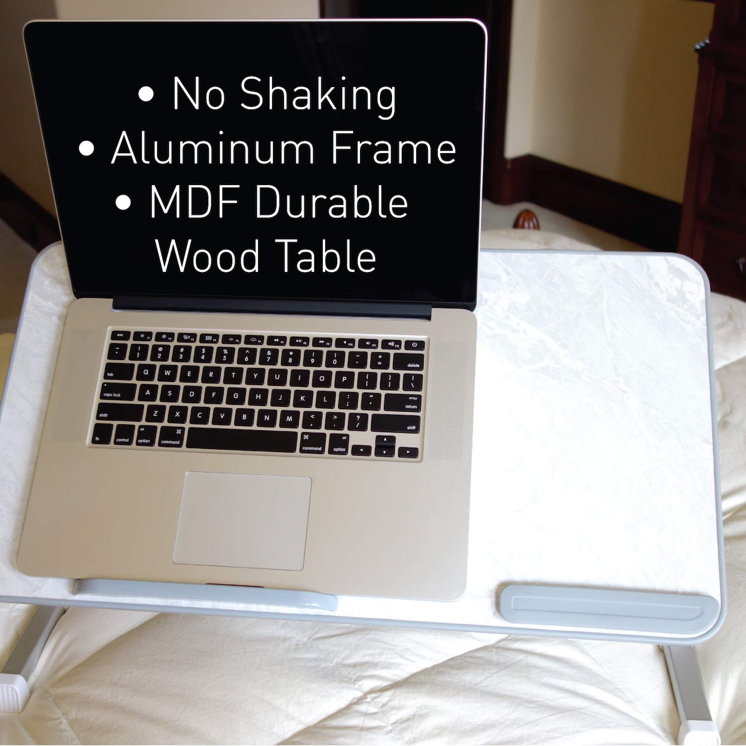 Macally Portable Laptop Table for Bed, [Large Size] Foldable & Height Adjustable Laptop Stand for Table - Sofa, Couch, Recliner - Folding Breakfast Tray Table with Legs, Notebook Lap Holder (Marble) by Macally (Image #7)