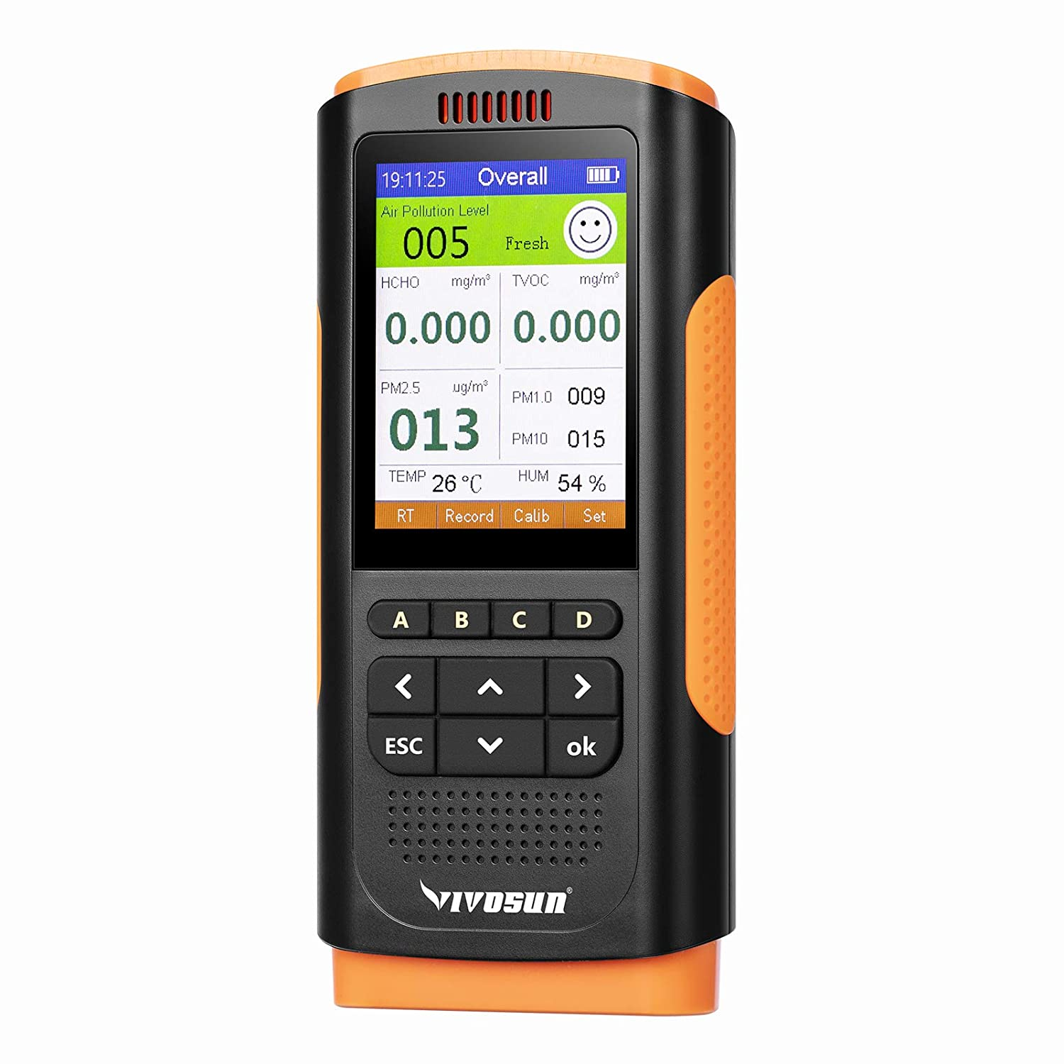 VIVOSUN Air Quality Monitor Indoor Pollution Detector Formaldehyde Tester, TVOC and PM2.5/PM1.0/PM10 Micron Dust Meter, Temp and Humidity Sensor Function