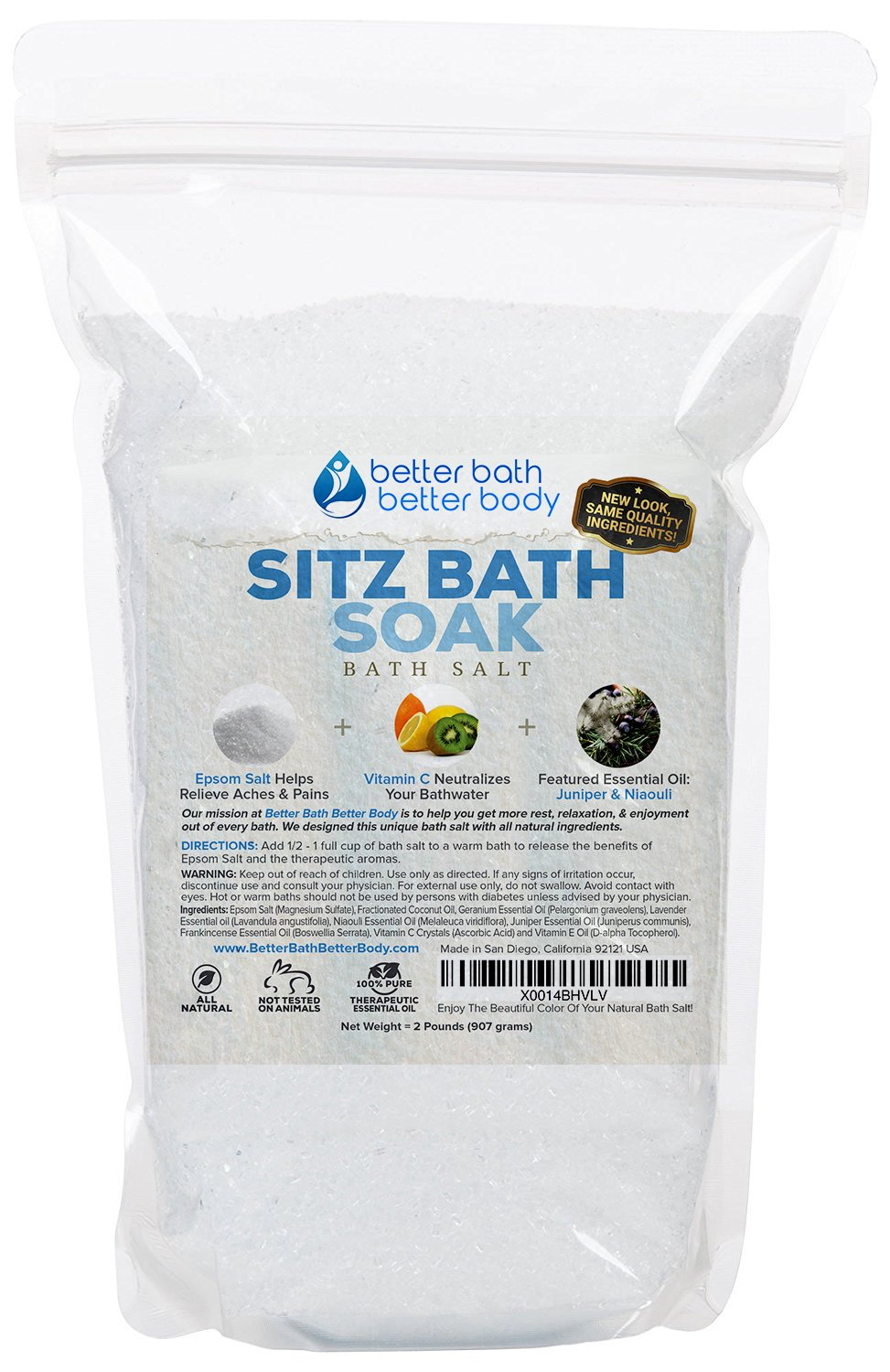 Hemorrhoid Sitz Bath Soak 2-Lbs (32oz) Epsom Salt With Niaouli Geranium Lavender Frankincense & Juniper Essential Oils & Vitamin C Crystals - Natural Hemorrhoid Treatment Fissures & Postpartum
