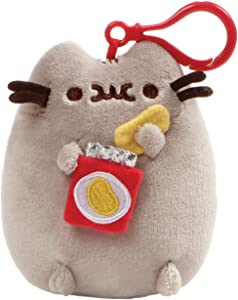 """GUND Pusheen Snackable Chips Cat Plush Stuffed Animal Backpack Clip, Gray, 5"""""""