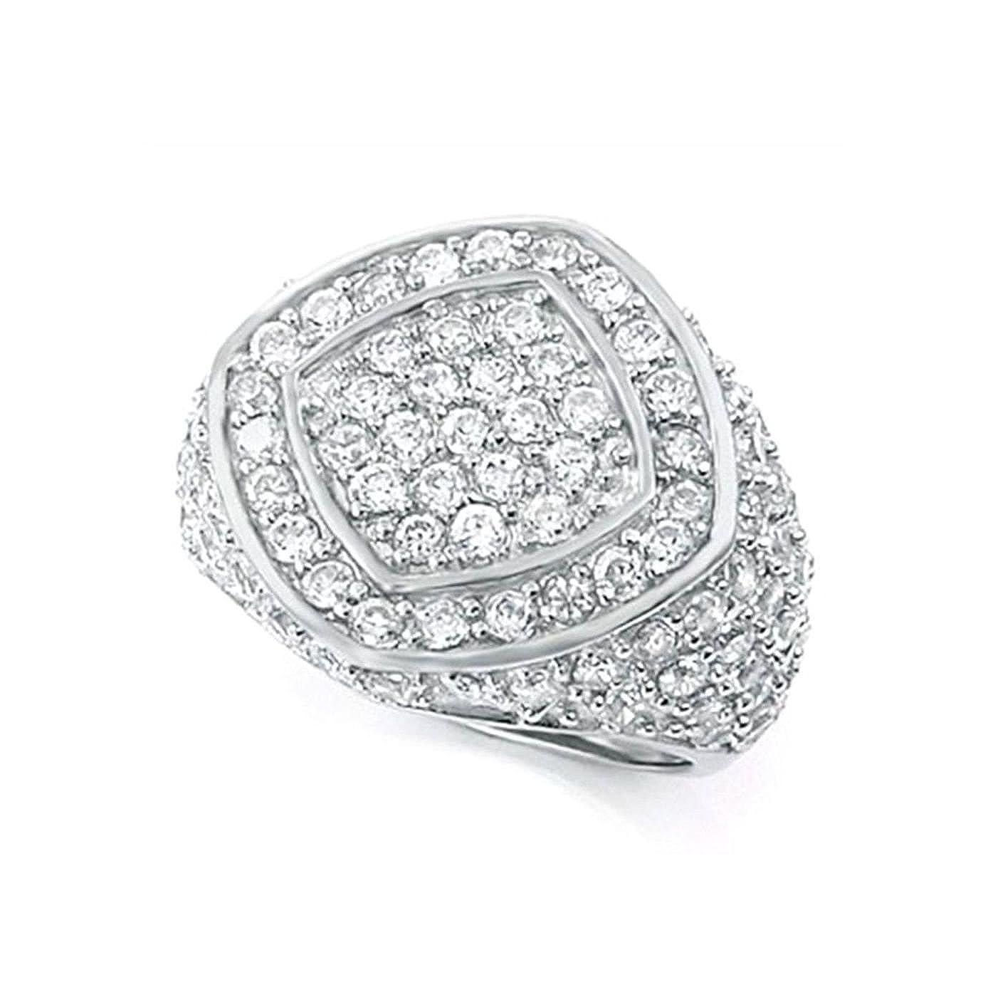 19 mm Wide mens ring designer Brilliant cut Solid 925 Silver