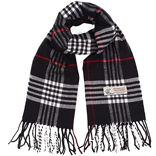 d3c131eed Plaid Cashmere Feel Classic Soft Luxurious Winter Scarf For Men Women (Black )