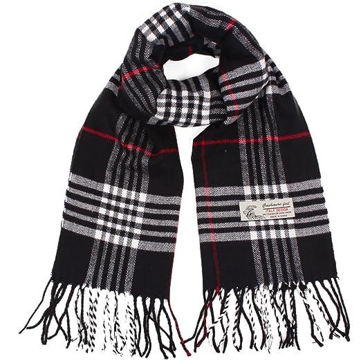 89bb649a8bd3d Plaid Cashmere Feel Classic Soft Luxurious Winter Scarf For Men Women  (Black)