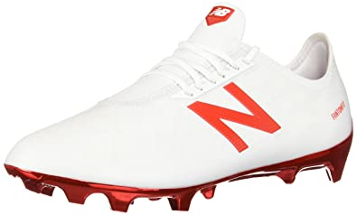 817d9f18ecdd New Balance Men's Furon 4.0 Pro FG Soccer Shoe, White/Flame Orange, 3.5