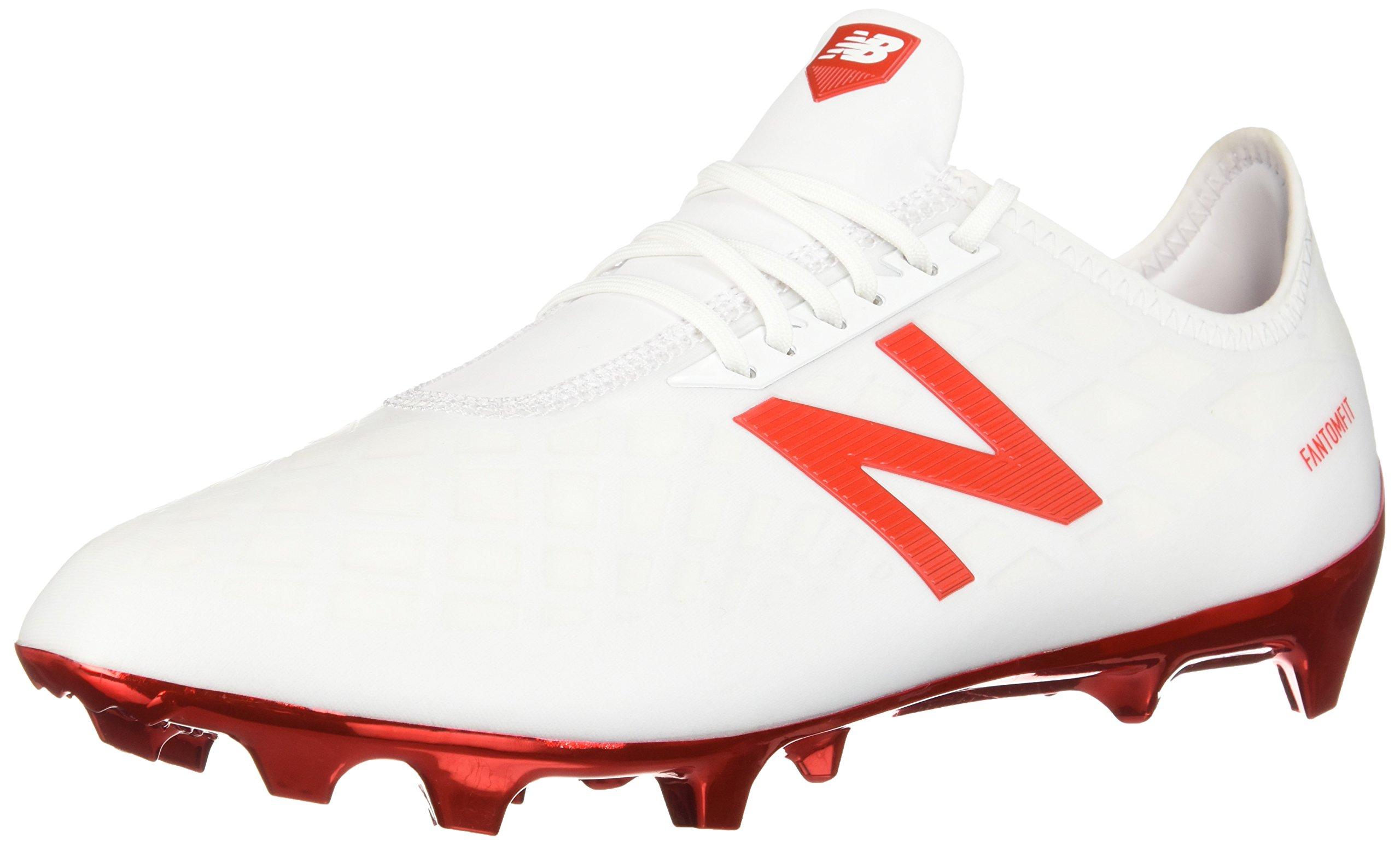 New Balance Men's Furon 4.0 Pro FG Soccer Shoe, White/Flame Orange, 13.5 D US