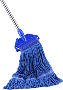 Klyfar Commercial Grade String Mop - Looped-End Wet Mops for Floor Cleaning, Cotton Heavy Duty Mop with Long Handle for Industrial and Home Kitchen Use (52 inches)
