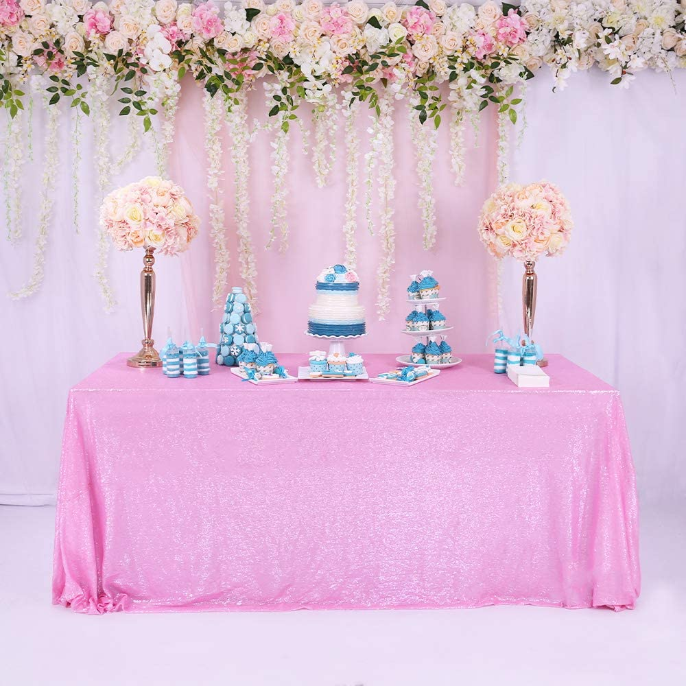 TRLYC Blush Pink 60*102 High Quailty Sparkly Tablecloth Sequin Rectangle Table Cloth for Wedding or Events