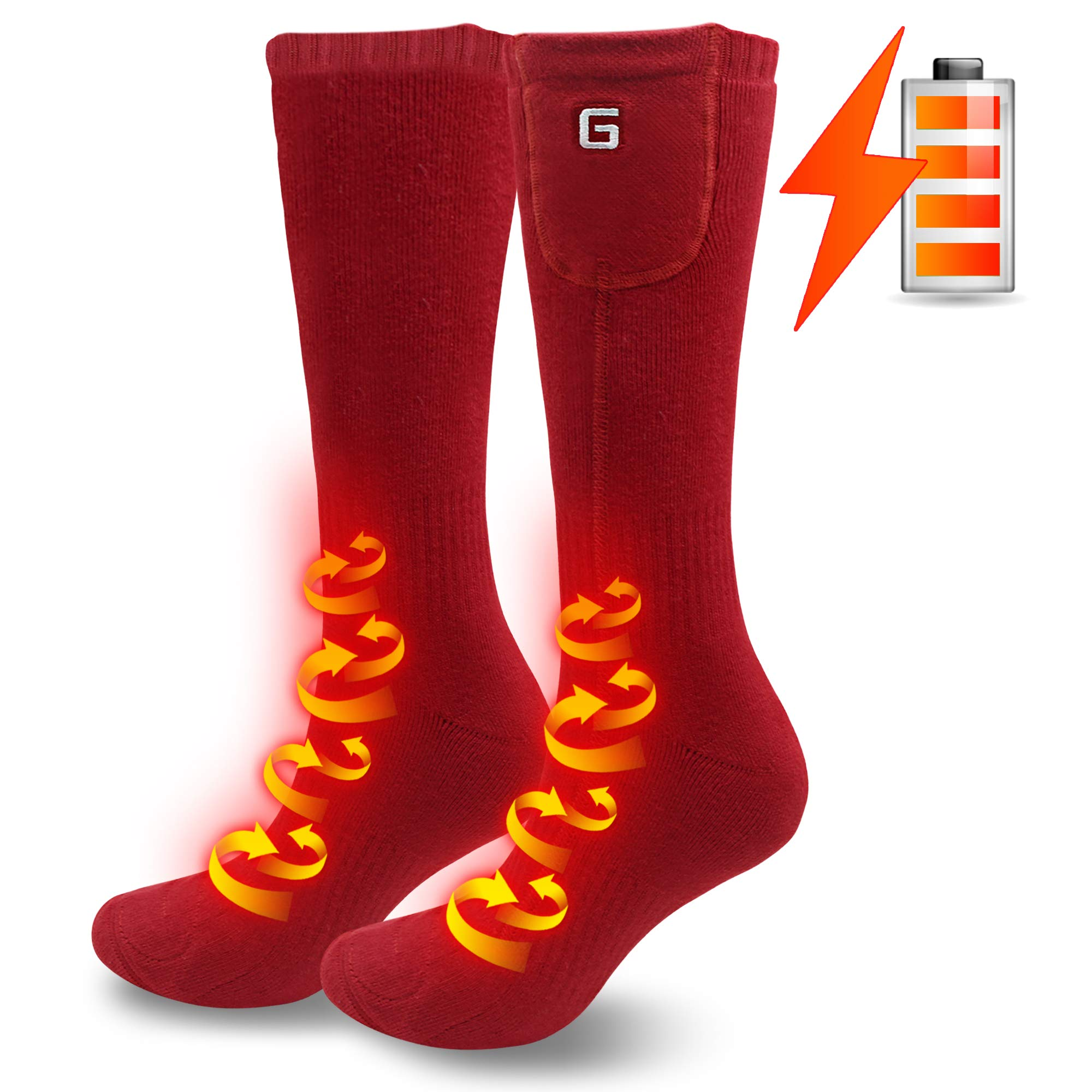 Men's Heated Hiking Socks for Cold Weather Rechargeable Batteries Thermal Heated Socks Foot Warmers for Chronically Cold Feet,Perfect for Hunting Hiking Shredding, Riding Electric Batteries Socks(Red) by MMlove