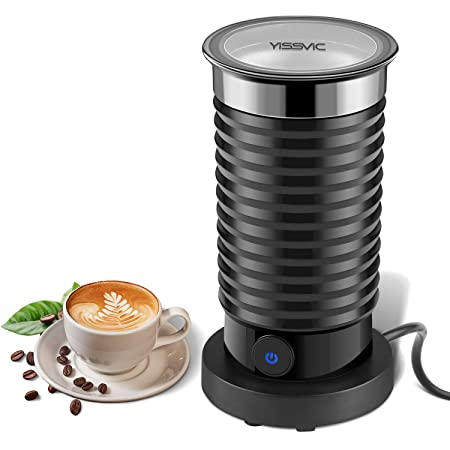 Yissvic Milk Frother Electric Milk Steamer And Warmer With Two Whisks Auto Shut Off For Cappuccino, Latte, Macchiato, Hot Chocolate by Yissvic