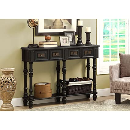 Monarch Veneer Traditional Console Table, 48 Inch, Antique Black