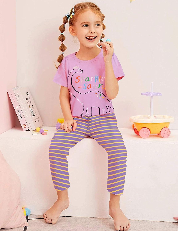 Arshiner Girls Pajamas Cotton Short Sleeve /& Pants Cat PJs Set Sleepwear