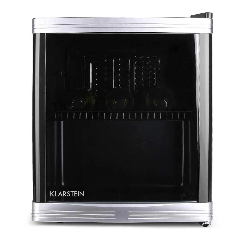 Klarstein Beerlocker S Mini Kühlschrank Getränkekühlschrank 21 Liter doppelt isoliert 1 Metalleinschub LED-Innenbeleuchtung freistehend niedriges Betriebsgeräusch 70 Watt höhenverstellbare Standfüße seitliche Griffmulde schwarz [Energieklasse A+] HEA8-Bee