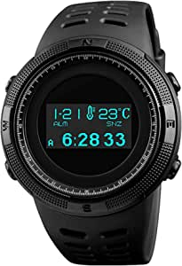 Digital Mens Sports Watch Electronic Military Multifunctional Pedometer Calories Compass OLED Display