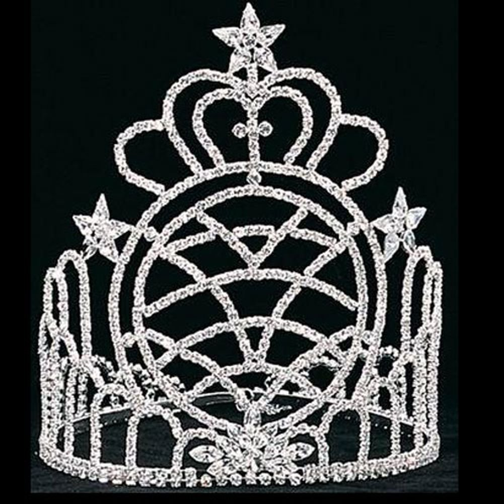 Girls Silver 8in Heart Pageant Quinceanera Communion Crown Headpiece