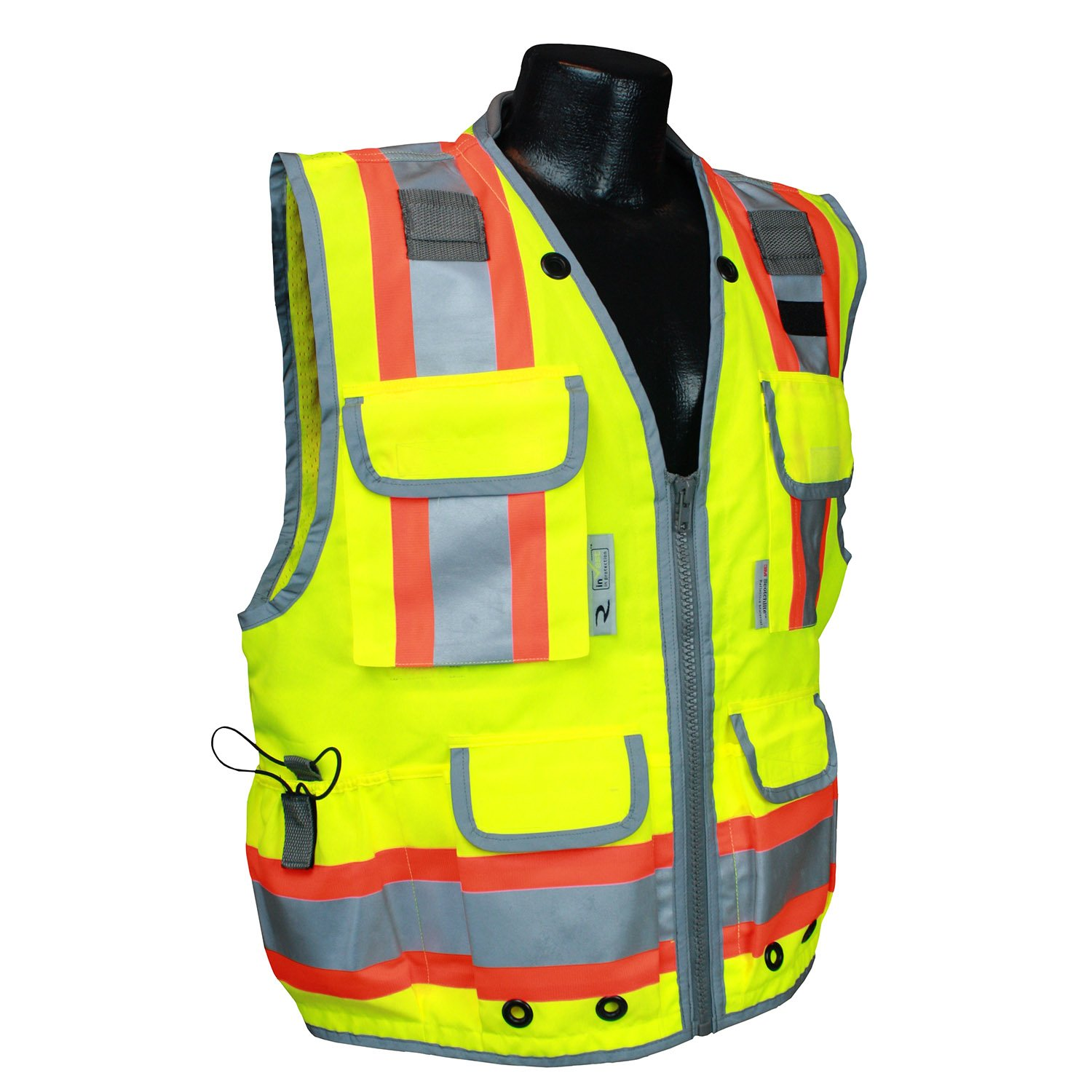 Radians SV55-2ZGD-M Class 2 Heavy Woven Two Tone Engineer Safety Vest, Hi Viz Green, Medium