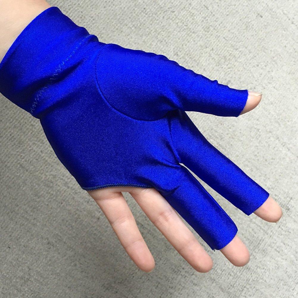 Accesorio para Tres Dedos Izquierda Spandex Snooker Billar Guante Negro//Azul Azul
