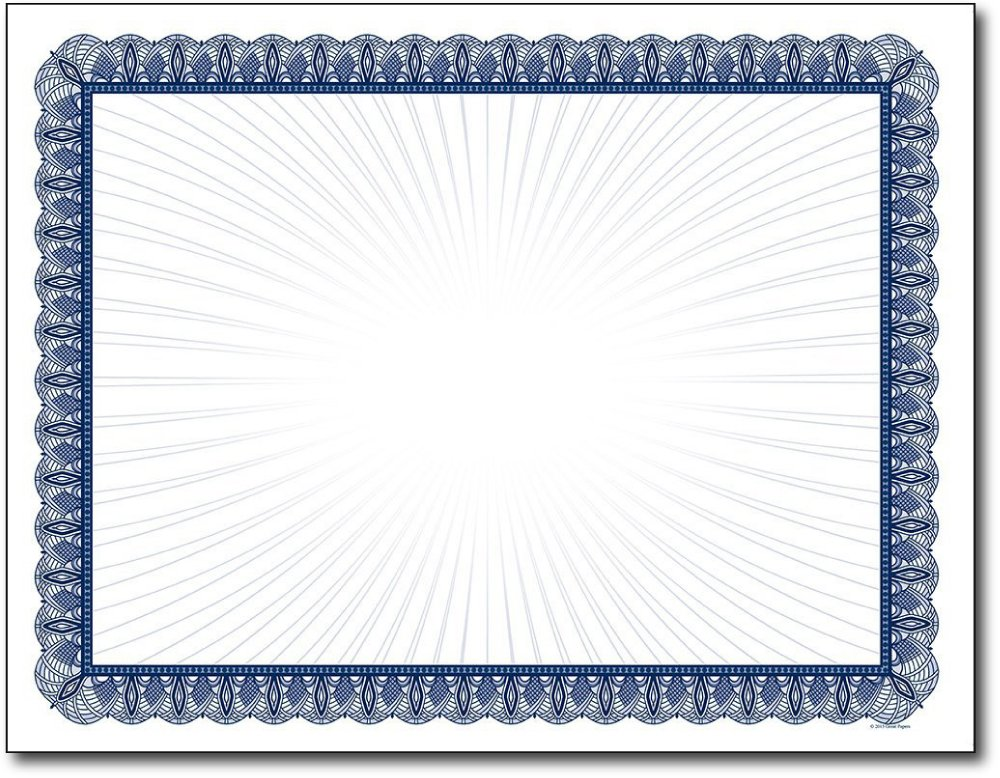 Blue Value Blank Certificates - 100 Sheets - Inkjet / Laser Compatible - Great for Graduations, Acheivements & Awards