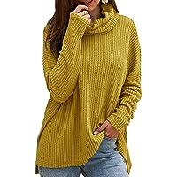 CNFIO Jersey Punto Mujer Invierno Cuello Alto Redondo Jerseys Camiseta Manga Larga Sueter Mujer Suelto Jerseys Basico…