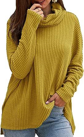 CNFIO Jersey Punto Mujer Invierno Cuello Alto Redondo Jerseys Camiseta Manga Larga Sueter Mujer Suelto Jerseys Basico Casual Sudadera Rebeca