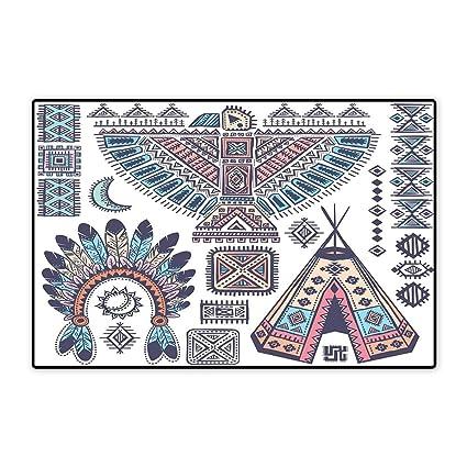 Amazon Tribal Door Mat Small Rug Ethnic Teepee Tents Eagle