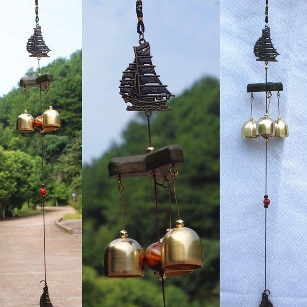 Metal Wind Chimes Copper Bells Outdoor Garden Feng Shui Hanging Ornament 19inch