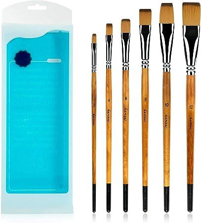 6/pezzi in nylon artisti pittura forniture Filbert pennelli per arte acrilica pittura ad olio con manico in legno rosso Art set di pennelli
