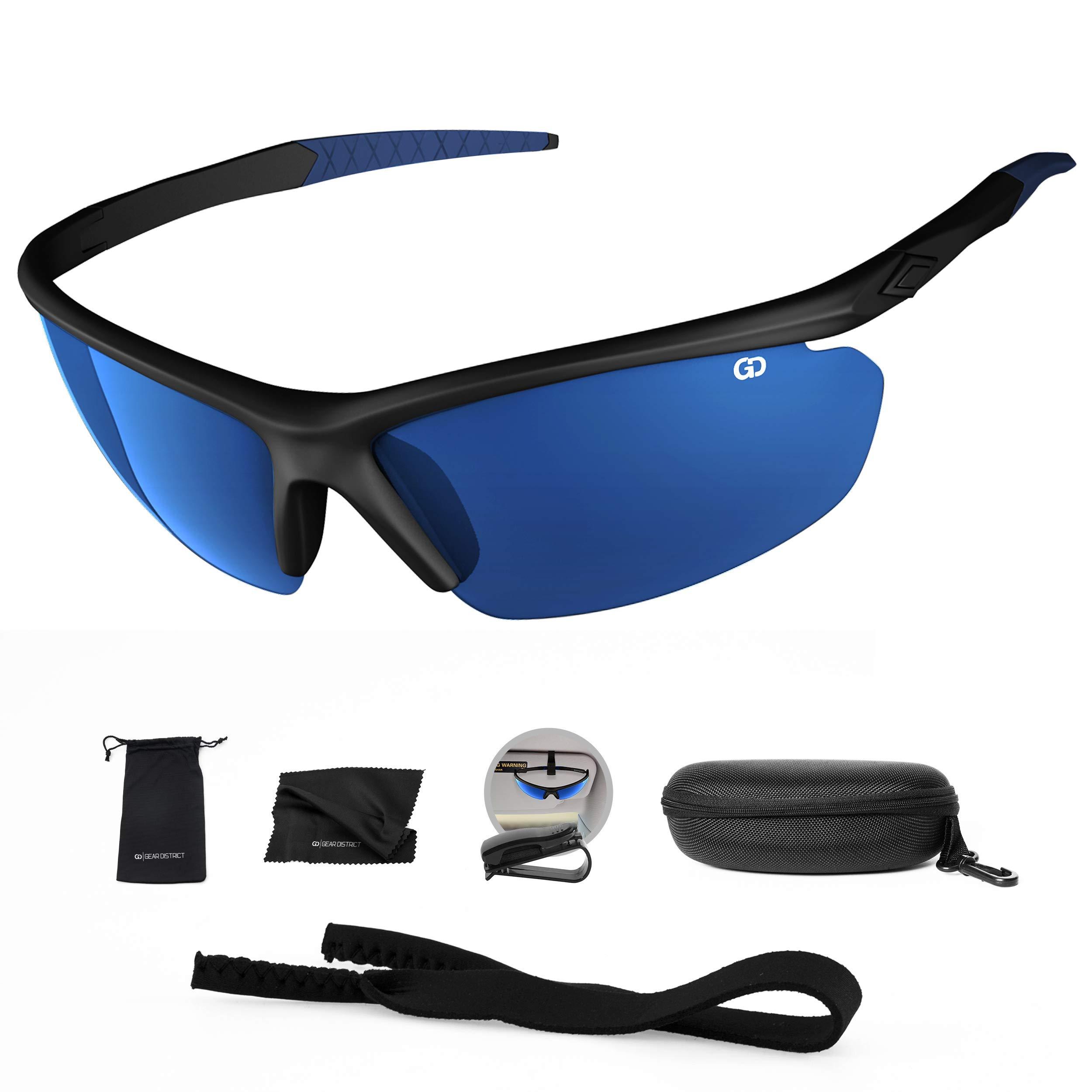 Polarized UV400 Sport Sunglasses Anti-Fog Ideal for Driving or Sports Activity (Black, Mirror Blue)