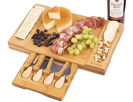 Amazon.com: Juego de tabla de queso de bambú con cajón ...