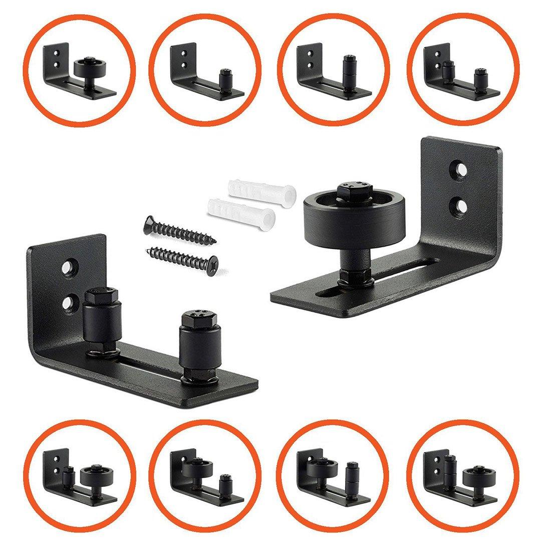 TOOGOO Guia de montaje en pared ajustable con 8 configuraciones diferentes para herrajes de puerta de granero - Recubrimiento en polvo negro - Parte ...