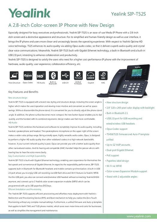 Amazon com : Yealink SIP-T52S IP Phone 12 Lines Bluetooth +