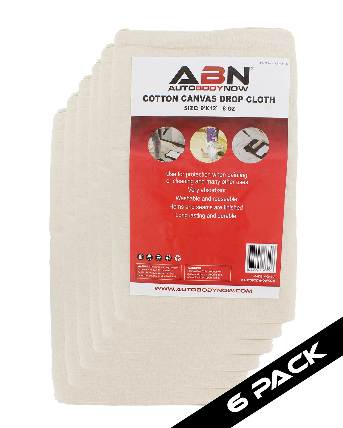 ABN Painters Cotton Canvas Paint Drop Cloth, XL 9' x 12' Foot 6-PACK – Protective White Tarp for Painting, Auto, Furniture