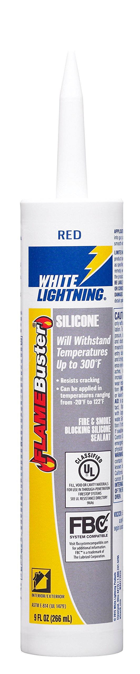 White Lightning W44117010 Flame Buster Fire and Smoke Blocking-Silicone Sealant.