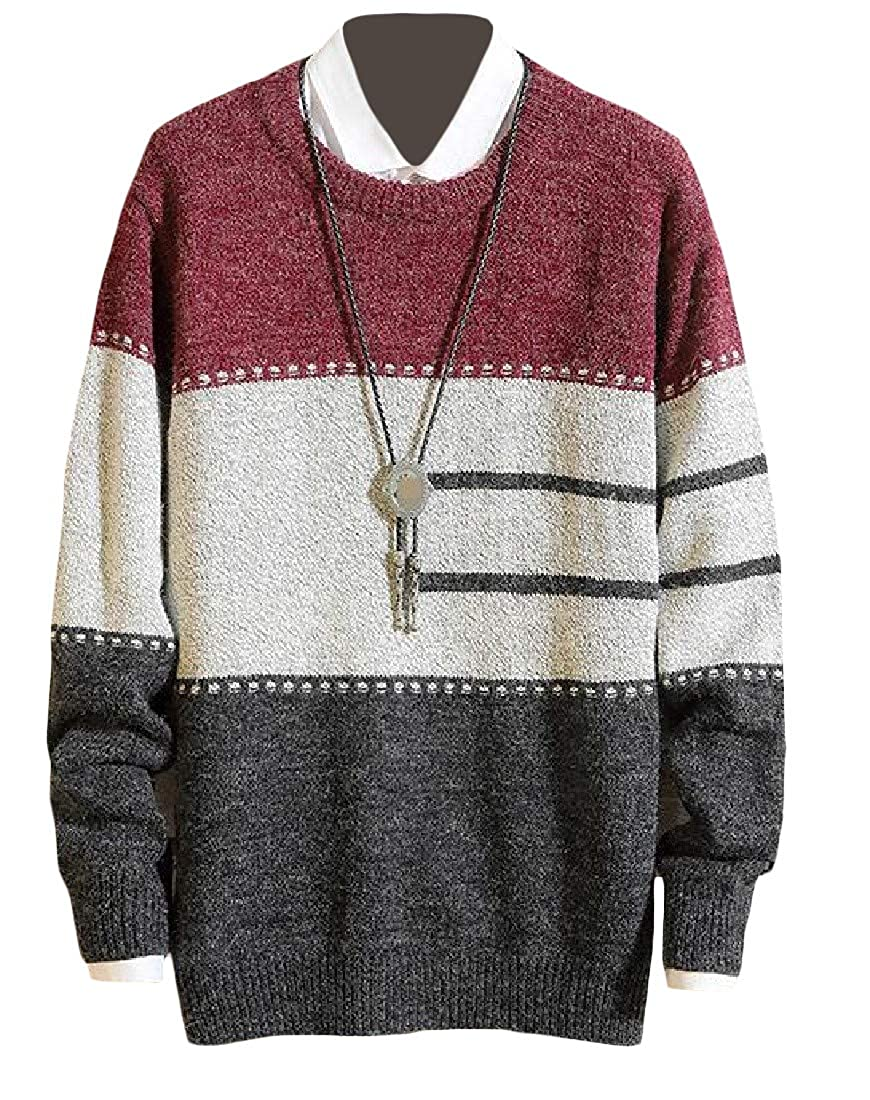 Macondoo Men Stylish Contrast Colors Round-Neck Knit Pullover Jumper Sweaters