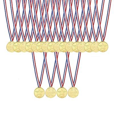 Caydo 48 Pcs Kids Children's Gold Plastic Winner Award Medals: Toys & Games