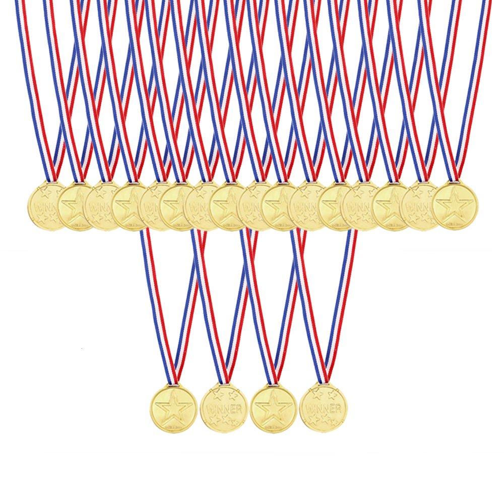 Caydo 48 Pcs Kids Children's Gold Plastic Winner Award Medals