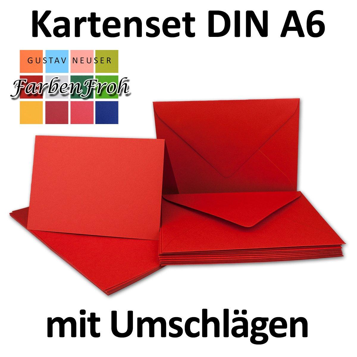 Faltkarten Faltkarten Faltkarten Set mit Brief-Umschlägen DIN A6   C6 in Rosanrot   100 Sets   14,8 x 10,5 cm   Premium Qualität   Serie FarbenFroh® B079ZYJ7QJ | Genial Und Praktisch  861f6b