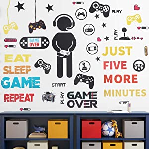 26 Pieces Gamer Wall Sticker Gamer Wall Decals Children Video Game Room Decor Gaming Controller Wall Stickers Removable DIY Cartoon Party Wallpaper for Gamer Bedroom Playroom Decor (Chic Style)