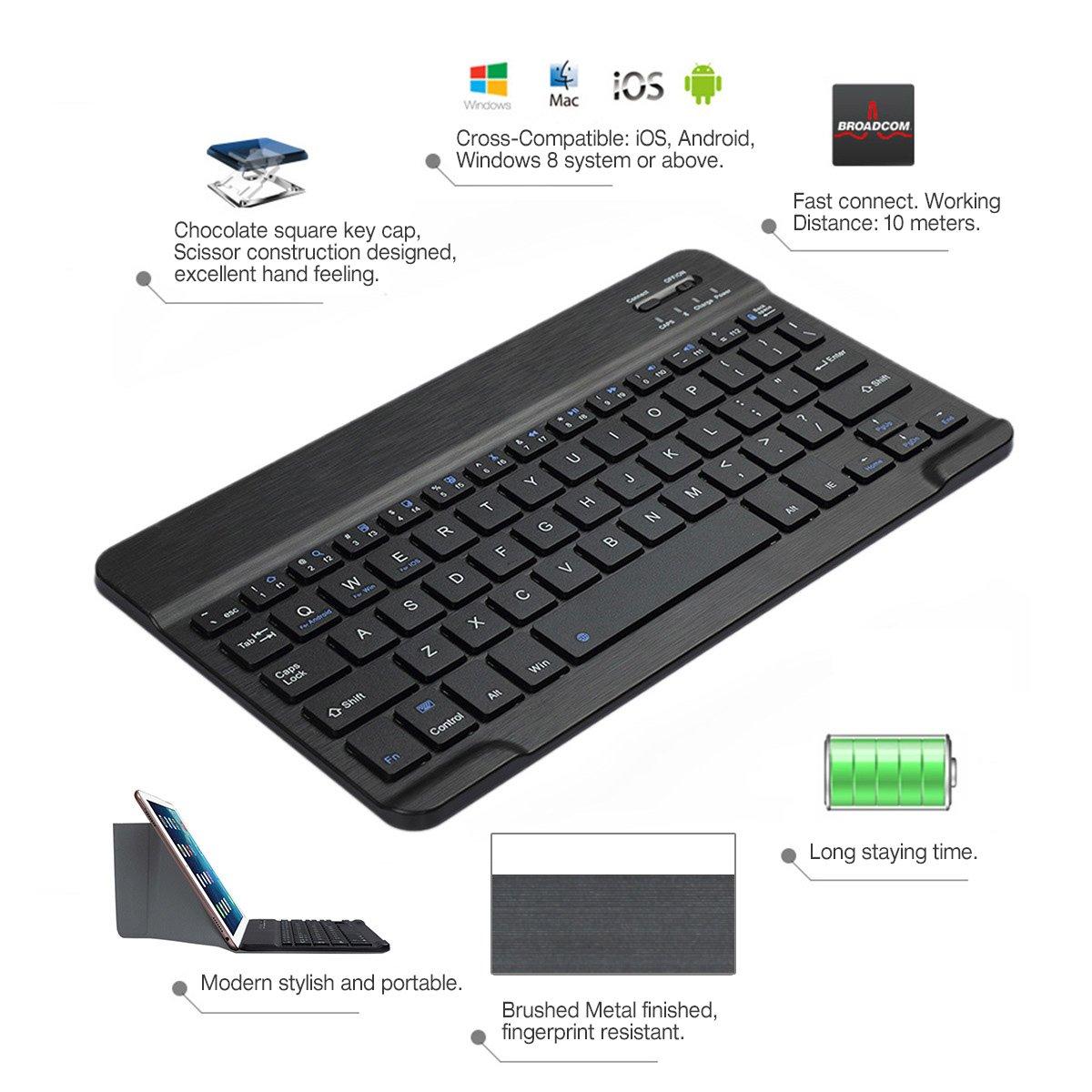 CoastaCloud 7-inch Ultra Slim Portable Wireless Bluetooth Keyboard for iPad 2/3/4, iPad Mini 4/3/2/1, Galaxy Tab and other iOS, Android, Windows Devices (Black) by CoastaCloud (Image #3)