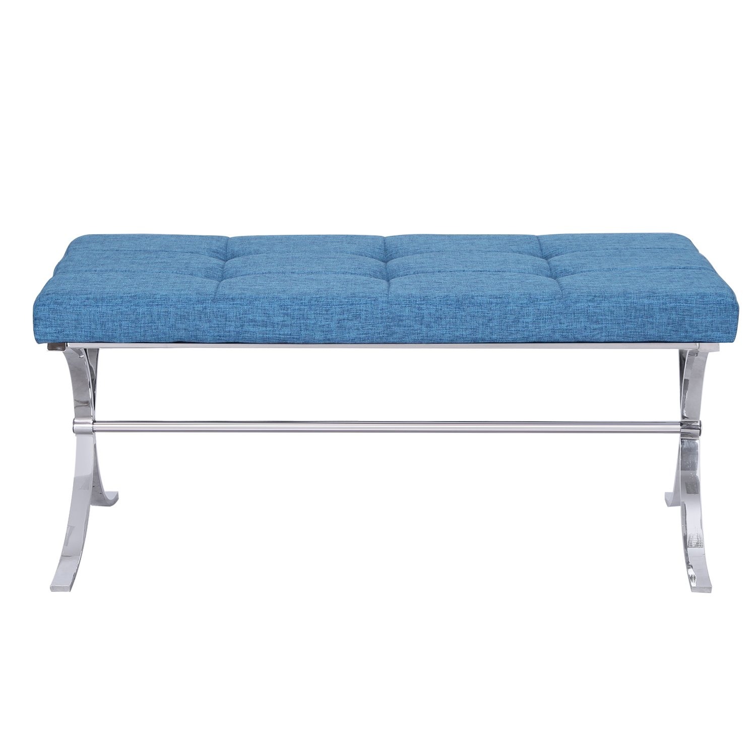 Adeco Metal Bench Entryway Footstool with Button, Tufted Linen Fabric - Blue
