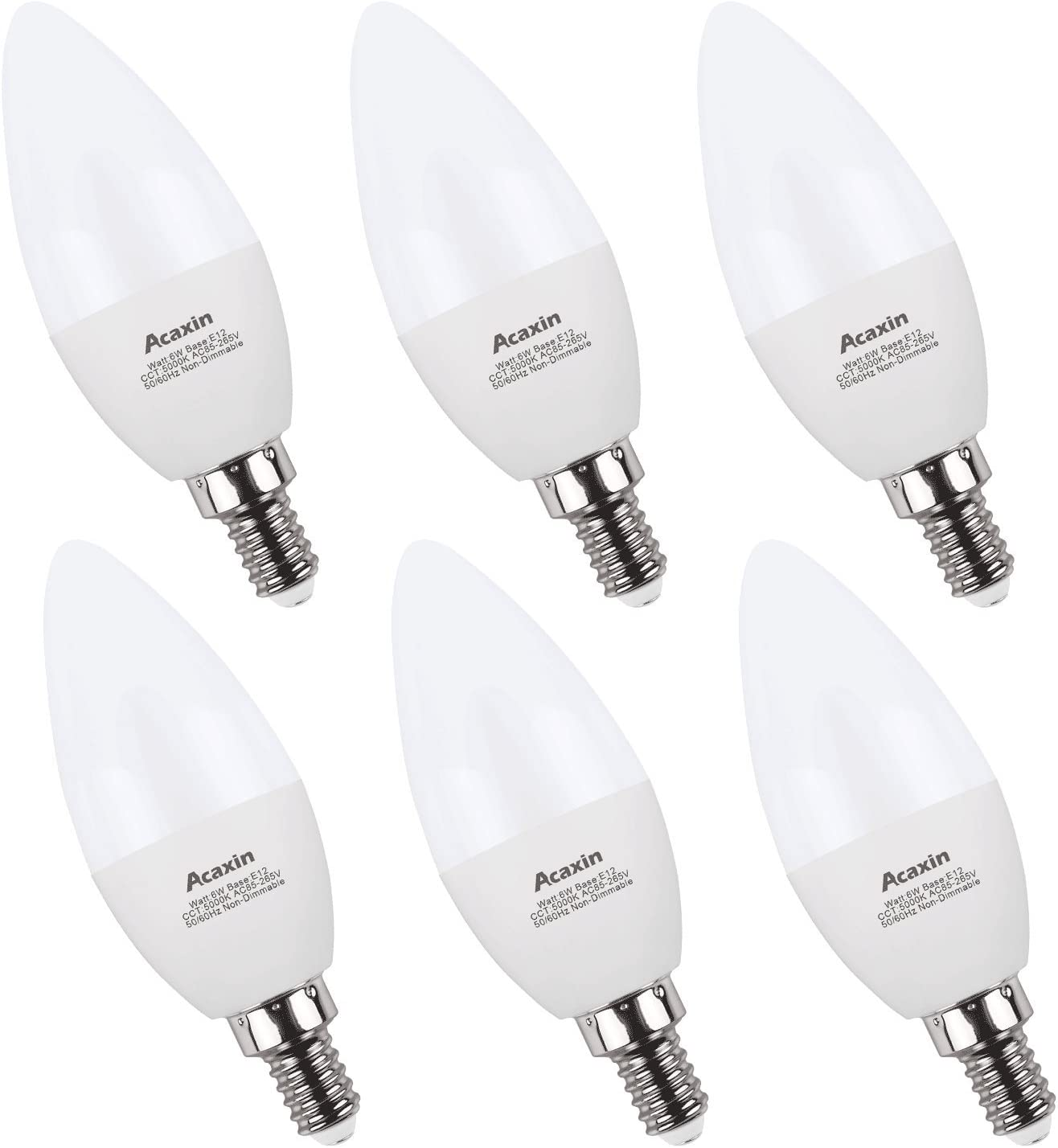 E12 Bulbs Candelabra LED Bulbs 60 Watt,Acaxin E12 Daylight 5000K LED Chandelier Bulbs,600 Lumen, Non-Dimmable,6 Pack
