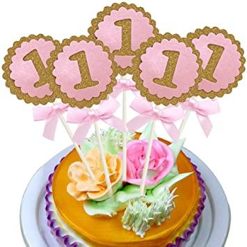 5PCS Set Happy First Birthday Cupcake Toppers YOFUNTLE Pink Cardboard Gold Glitter 1st