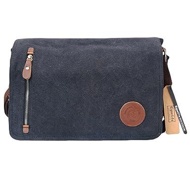 c42addab11 Egoelife Unisex Casual Canvas Satchel Messenger Bag for Traveling Camping ( Black)