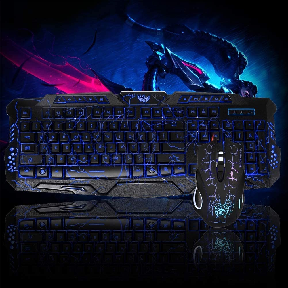 Gaming Crack Keyboard and Mouse Combo,Wired Keyboard with Colorful Lights and Mouse with 6 Adjustable DPI Rainbow Backlight for PC
