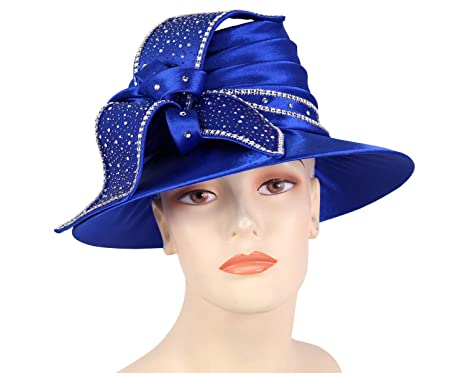 ca6093e5a7f Ms Divine Women s Satin Year Round Church Hats Dress Formal Hats  H874  (Royal)