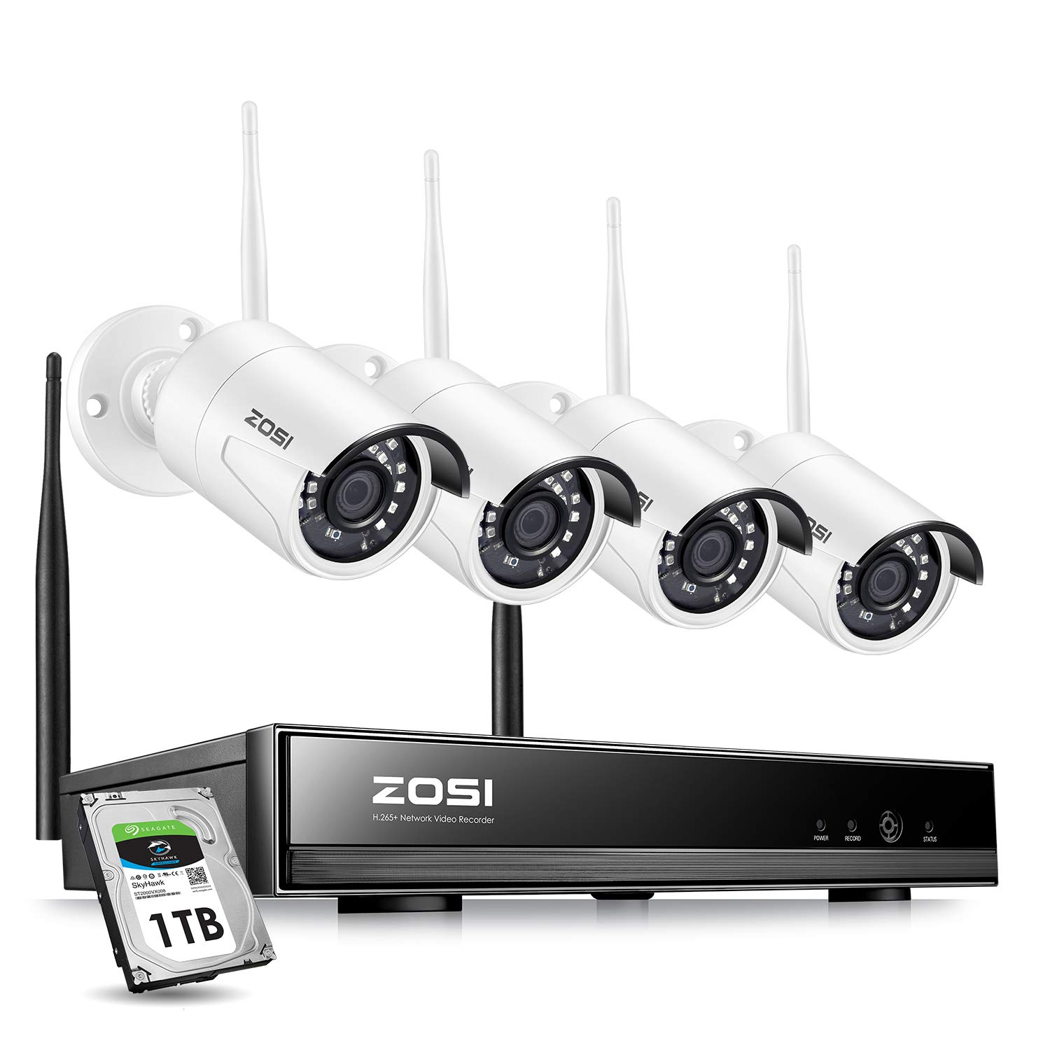ZOSI Wireless Security Cameras System,1080P HD Network IP NVR with 1TB Hard  Drive and (4) HD 1 3MP 960P Wireless Weatherproof Indoor Outdoor