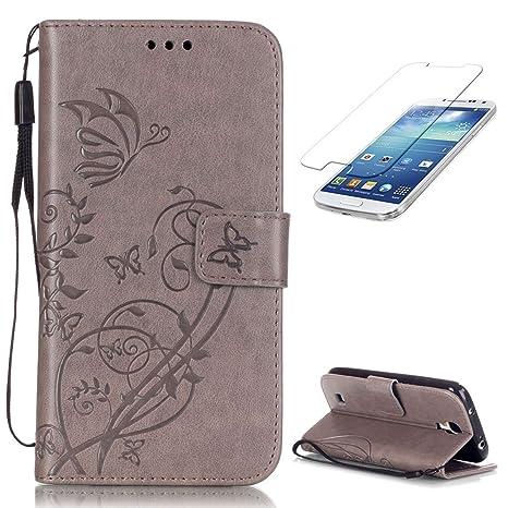 CaseHome Compatible For Samsung Galaxy S4 Funda Piel PU Cuero Billetera,Mariposa y Flores,Carcasa en Libro [Flip][Card Slots] Protección Gota Prima ...
