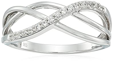 d2350701b Amazon.com: Sterling Silver Natural White Zircon Band Ring, Size 7 ...
