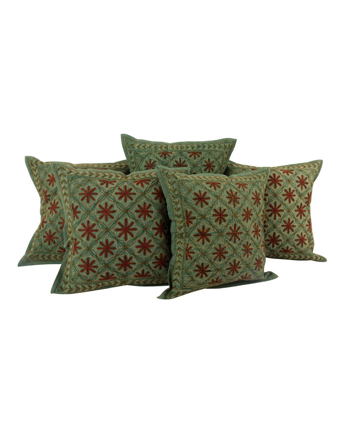 Rajrang Ethnische Kissenbezug Bestickt grün Baumwolle Kissenbezug 5 St.
