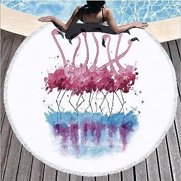 LIUNIAN Toalla de Playa Flamingo Microfibra Toallas de Playa Redondas Grandes 150 cm x 150 cm 59 Pulgadas para Mujeres Niños Chicas Niños: Amazon.es: Hogar