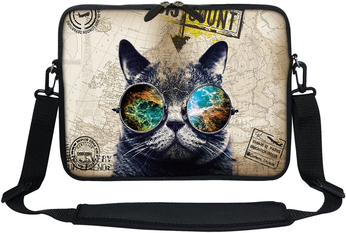 Meffort Inc 11.6 12 Inch Neoprene Laptop Sleeve Bag Carrying Case with Hidden Handle and Adjustable Shoulder Strap - Cool Cat